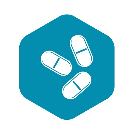 Three pills icon, simple style