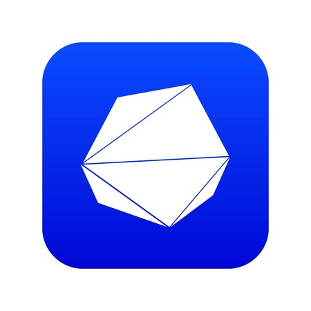Origami stone icon blue vector Illustration