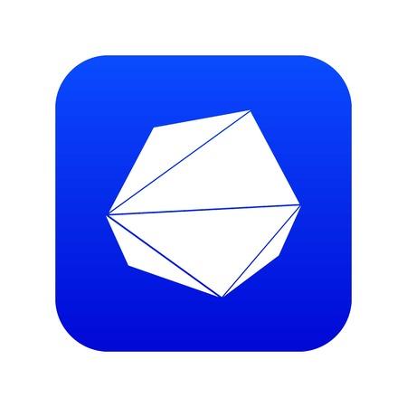 Origami stone icon blue vector Illustration