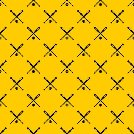 Baseball bat and ball pattern seamless vector repeat geometric yellow for any design