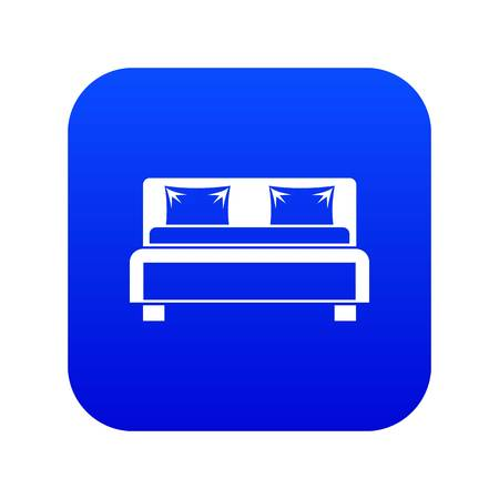 Double bed icon digital blue for any design isolated on white vector illustration