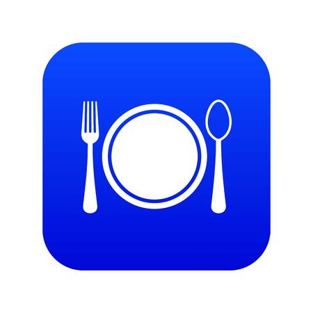 Place setting with plate,spoon and fork icon digital blue for any design isolated on white vector illustration