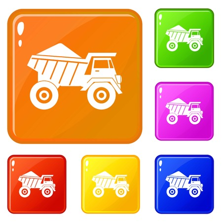 Dump truck with sand icons set collection vector 6 color isolated on white background