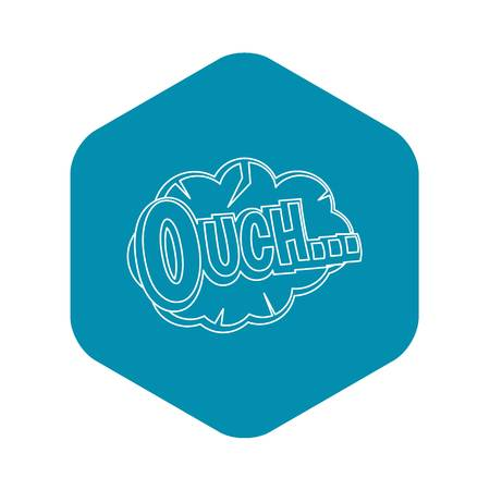 Ouch, comic text speech bubble icon. Outline illustration of Ouch, comic text speech bubble vector icon for web