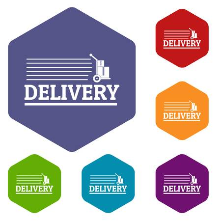 Delivery post icons vector hexahedron Illustration