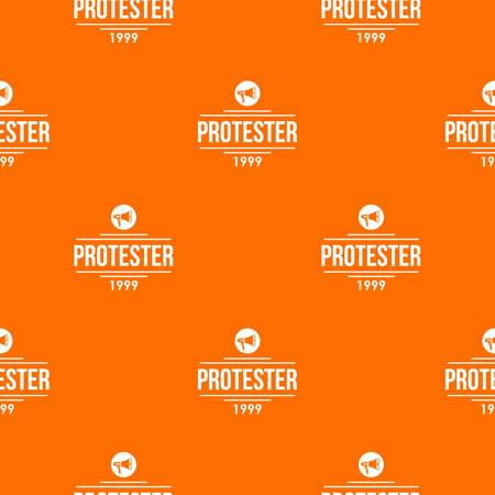 Protester gramophone pattern vector orange