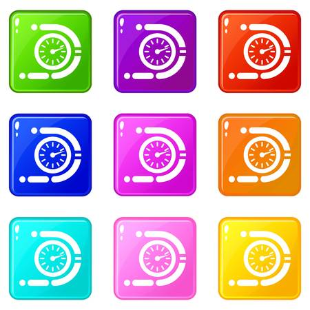 Timer icons set 9 color collection isolated on white for any design Banque d'images - 130237155