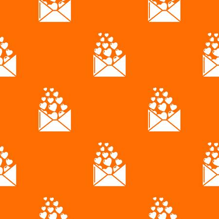 Heart letter pattern vector orange