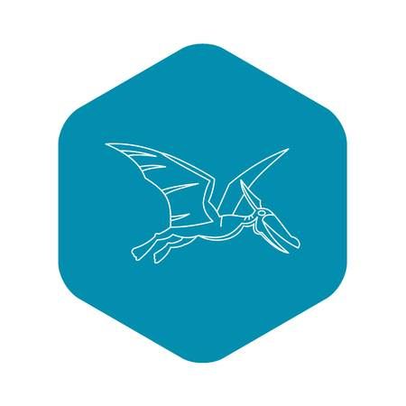 Winged dinosaur icon, outline style Illustration
