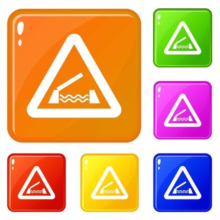 Lifting bridge warning sign icons set vector color