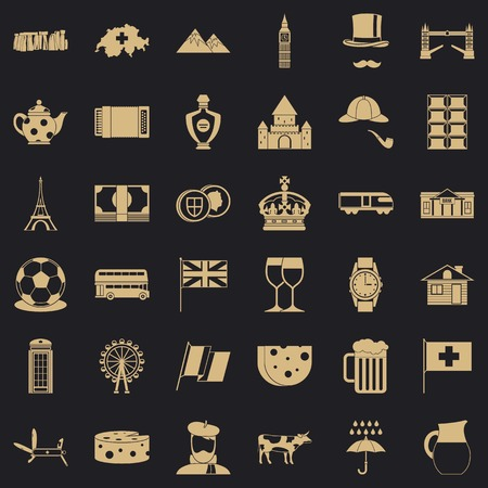 Europe country icons set, simple style