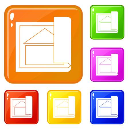 Building plan icons set vector color
