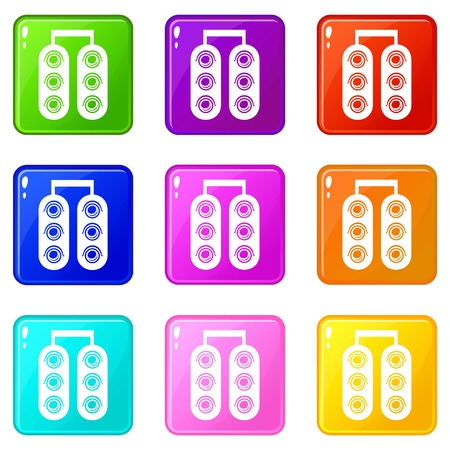 Traffic light icons set 9 color collection isolated on white for any design