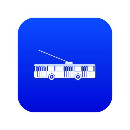 Trolleybus icon digital blue for any design isolated on white vector illustration