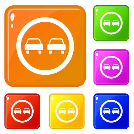 No overtaking road traffic sign icons set vector color Vettoriali