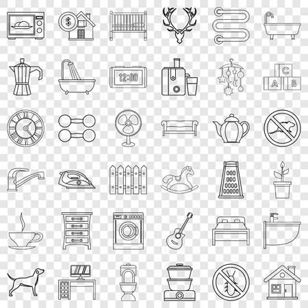 Comfortable house icons set, outline style Ilustração