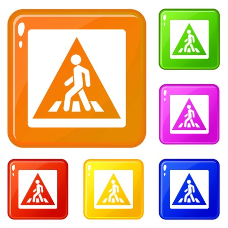 Pedestrian road sign icons set collection vector 6 color isolated on white background
