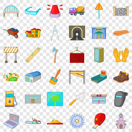 Barbecue icons set, cartoon style