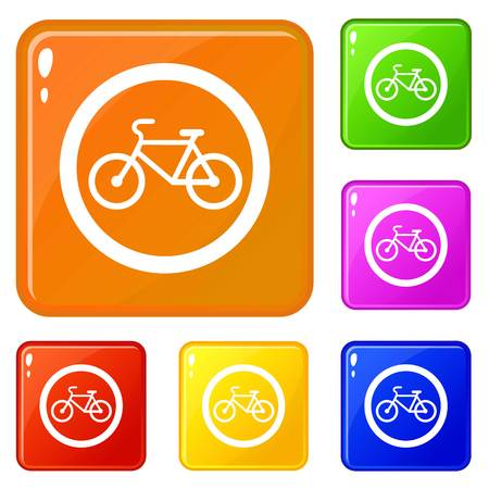 Travel by bicycle is prohibited traffic sign icons set collection vector 6 color isolated on white background Ilustração