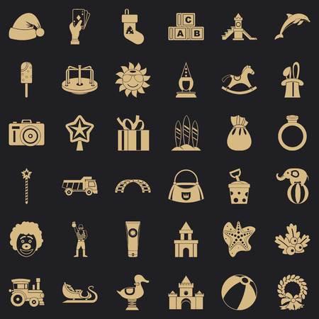 Castle icons set, simple style