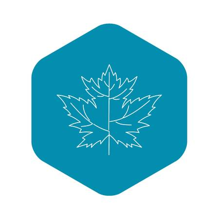 Maple leaf icon, outline style Illustration