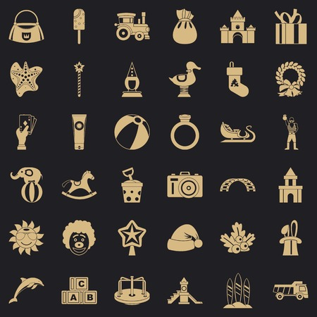 Toy icons set, simple style Vetores