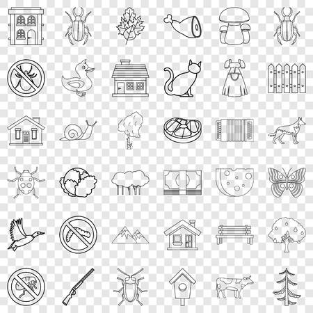 Barbecue icons set, outline style
