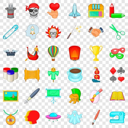 Creativity icons set, cartoon style