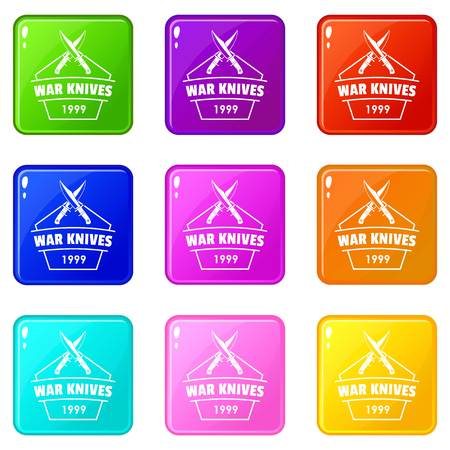 Knive war icons set 9 color collection Ilustracja