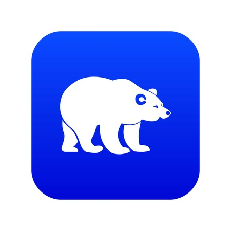 Bear icon digital blue for any design isolated on white vector illustration