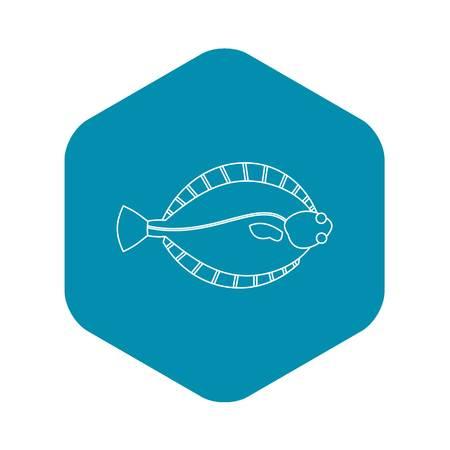 Flatfish icon. Outline illustration of flatfish vector icon for web