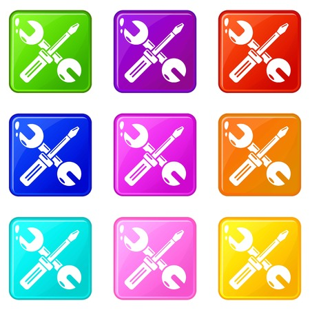 Tools repair icons set 9 color collection