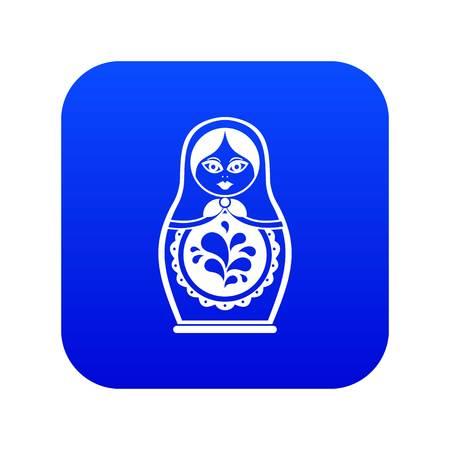 Matryoshka icon digital blue for any design isolated on white vector illustration Stock Illustratie