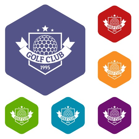 Golf icons vector hexahedron Illustration