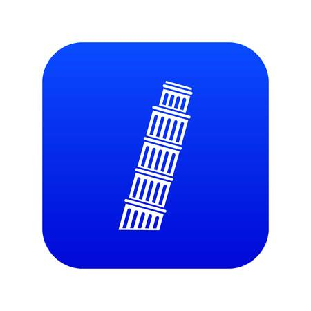 Tower of Pisa icon digital blue for any design isolated on white vector illustration