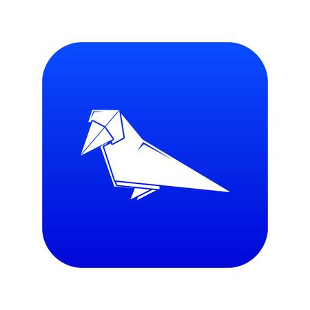 Origami bird icon blue vector