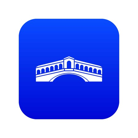 Venice bridge icon digital blue for any design isolated on white vector illustration