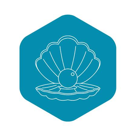 Sea shell with pearl icon, outline style