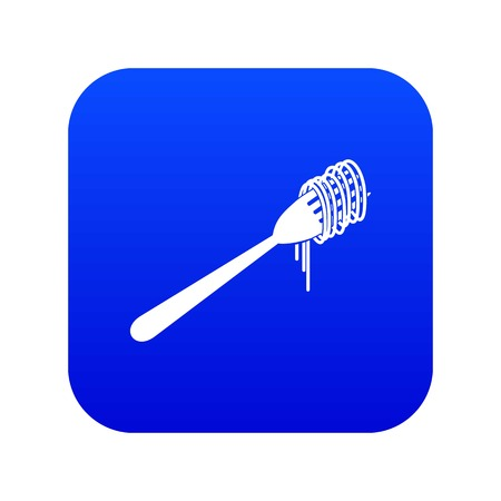 Spaghetti on a fork icon digital blue for any design isolated on white vector illustration