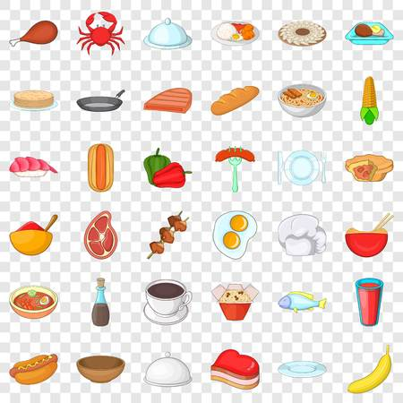 Crockery icons set, cartoon style