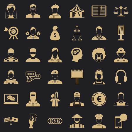 Robbery icons set, simple style