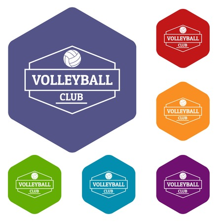 Volleyball icons vector hexahedron
