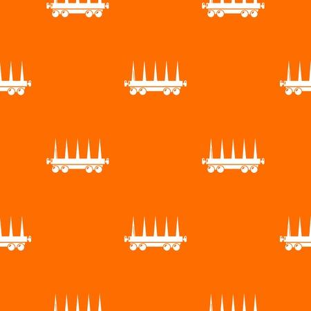 Delivery wagon pattern vector orange