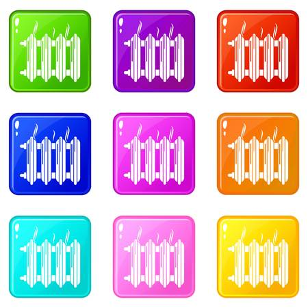 Cast-iron battery icons set 9 color collection