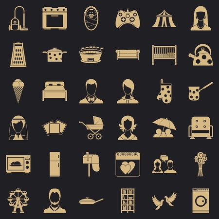 Family icons set, simple style