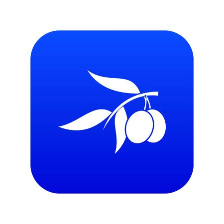 Olive tree branch with two olives icon digital blue for any design isolated on white vector illustration