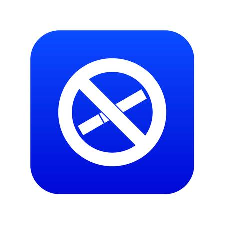No smoking sign icon digital blue for any design isolated on white vector illustration