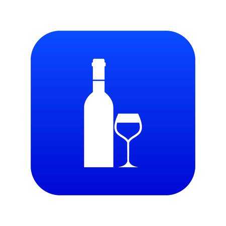 Glass and bottle of wine icon digital blue for any design isolated on white vector illustration
