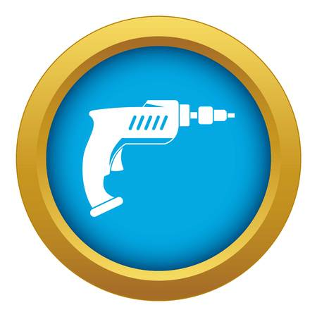 Drill icon blue vector isolated on white background for any design