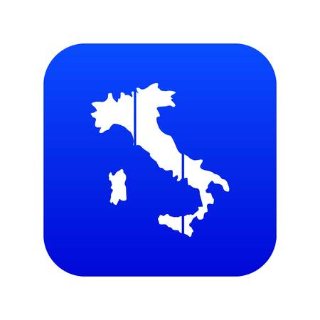 Map of Italy icon digital blue for any design isolated on white vector illustration